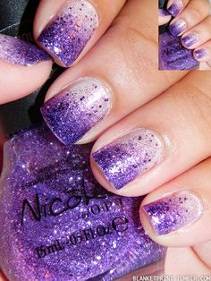 I like the purple gradient design ... Colors: Who Needs A Prince? (OPI) and One Less Lonely Glitter (Nicole)