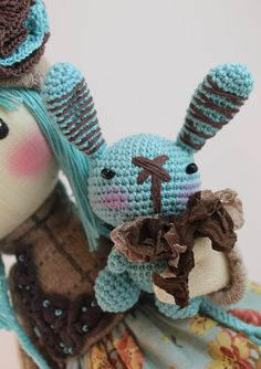 Doll Zooey brown and turquoise rag doll by DollsLittleAngels