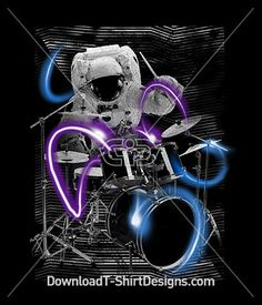 Cosmic Space Astronaut Drummer Music Band. Download this design and print on your T-Shirts or products today at: http://downloadt-shirtdesigns.com/downloadt-shirtdesigns-com-2123085.html