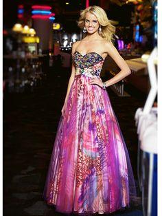 Multi-Print Strapless Dress