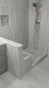 MASTER BATHROOM - Complete remodel x Vertical Tile - contemporary - Bathroom - Austin - Custom Surface Solutions-Gray shower Bathroom Remodel Shower, Contemporary Bathroom, Shower Tile, Trendy Bathroom, Bathroom Makeover, Bathroom Remodel Designs, Diy Bathroom Remodel, Amazing Bathrooms, Bathroom Design