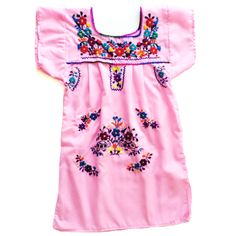 Image of Bright Colored Mexican Peasant Dress For Little Girls