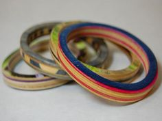 Recycled skateboard bangles