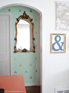 Mint and Gold Hallway - would also look great in any feminine space like a dressing room!