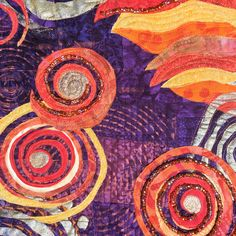"""""""Percolation"""" (Detail) Susan Backner  Louisville, KY Commercial cottons, Shiva oil paint sticks, acrylic paint, glass seed beads, machine pieced, fused appliqué, free-motion quilted."""