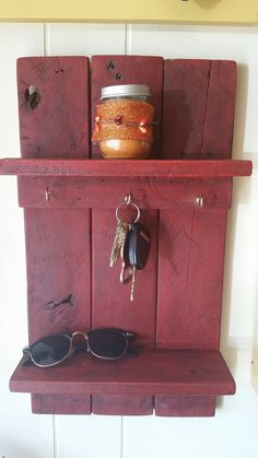 Rustic Upcycled Key Holder with Shelving Storage for Sunglasses, Cell Phone, Change!! ~ Rustic ~ Cabin ~ Lodge ~ Excellent Wedding Gift!!