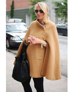 camel-colored wool cape www.pn warm winter, we need warm coat ,so mordern down coat, my best loved moncler. Looks Style, Style Me, Cape Coat, Wool Cape, Knitted Cape, Cape Jacket, New York Fashion Week Street Style, Overall, Look Chic