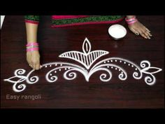 creative and easy rangoli side designs || muggulu side designs || side designs for kolam - YouTube