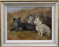 FLORENCE JAY f 1905-1920 DOG PORTRAIT SCOTTISH TERRIERS BRITISH OIL PAINTING ART in Art, Paintings | eBay!
