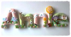 Girly woodland felt name chain .......  https://www.facebook.com/DaisyChainCreates Children name chains, easy to hang. £5.00 a letter for the first four letters then £3.00 a letter after. Message me at https://www.facebook.com/DaisyChainCreates xx