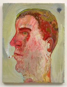 "Nicole Eisenman, ""Portrait of Guy Smoking"", 2007, Oil on canvas, 14"" x 11"""