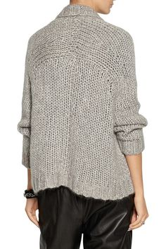 Gray chunky open-knit mid-weight silk, mohair, nylon and wool-blend Ribbed trims, open front Slips on 33% silk, 31% mohair, 26% nylon, 10% wool Dry clean Designer color: Pumice
