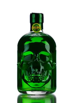 Not only the unusual shape of its bottle, also its extraordinary, bitter taste, makes this absinthe something special. With its alcohol strength, this Absinthe is strong! Alcohol Bottles, Liquor Bottles, Perfume Bottles, Tequila Bottles, Green Fairy, Types Of Girls, In Vino Veritas, Skull And Bones, Bottle Design