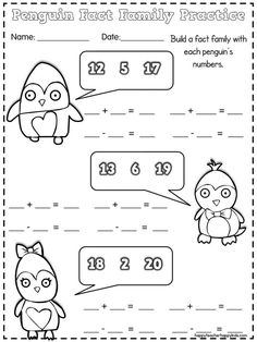 Penguin Math Craft - Practicing Fact Families in First Grade - Happy Teacher, Happy Kids First Grade Math Worksheets, First Grade Freebies, Social Studies Worksheets, Free Kindergarten Worksheets, Worksheets For Kids, First Grade Activities, Kindergarten Writing, 1st Grade Homework, 1st Grade Math
