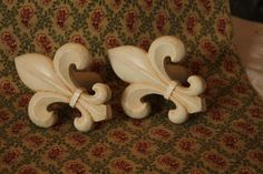 Fleur de lis pair  curtain hangers by MyFrenchCottage on Etsy, $7.00