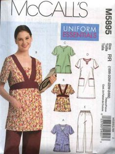 McCall's Sewing Pattern 5895 Womans Plus Size 8-16 Scrub Uniform Tops Dress Pants Nurse