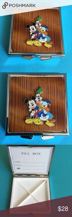 💐MOTHERS DAY SPECIAL💐 4 Cell Pill Box A-5-30 Real wood inlayed 4 cell Mickey, Donald and Goofy Pill Box. Original Disney Pin was used in the creation of this item. HM Simon Accessories