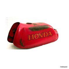 Having a Gas - Vintage Motorcycle Gas Tank - 1970s - Garage Decor -Biker - Man Cave - Honda - Red - Orange