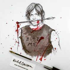 #DarylDixon by Rachel Corcoran  #inktober #drawing #illustration  #thewalkingdead #twd #zombie #walkingdead #normanreedus