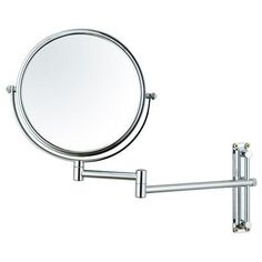 """Furnistars 8"""" Round Double Sided Makeup Cosmetic Swivel Mirror 3x Magnification Wall Mounted Chrome Finish"""