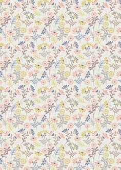 Lewis & Irene - A Little Bird Told Me - Cottage flowers on ivory