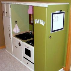 Play Kitchen from Entertainment Center upcycling