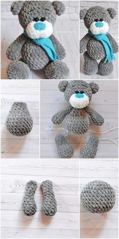 Amigurumi Crochet Plush Bear Free Pattern – Amigurumi Crochet - Knitting Bordado - Her Crochet Crochet Teddy Bear Pattern, Crochet Animal Patterns, Crochet Doll Pattern, Crochet Patterns Amigurumi, Crochet Dolls, Crochet Disney, Crochet Mouse, Free Crochet, Origami Diy