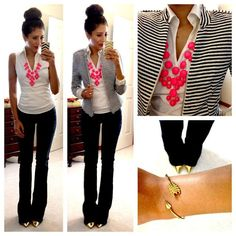 jacket, statement necklaces, blazer, work outfits, business casual, women's work outfit, stripe, work attire, gold shoes