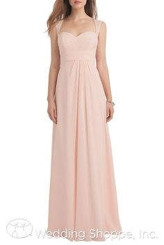 Long chiffon bridesmaid dress with keyhole back. Shown in petal pink.