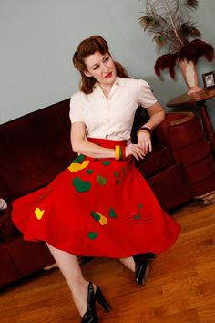 1940s Vintage Skirt  - Late 40s A-Line Felt Skirt with Hearts and Music - HeartBeat on Etsy, $124.00