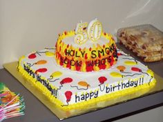50th birthday party ideas -- fun cake for the big 5-0!