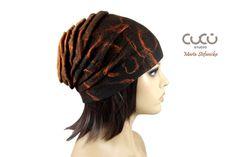 Unique handmade felt dark brown and cinnamon hat by CuCuSTUDIO