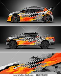Car decal wrap Truck and cargo van design vector. Graphic abstract stripe racing background kit designs for wrap vehicle race car rally adventure and livery Car Stickers, Car Decals, Sport Cars, Race Cars, Vinyl Wrap Car, Racing Car Design, Van Design, Cargo Van, Car Ford