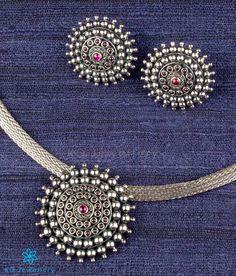 The Aditi Silver Choker Necklace(Oxidised) Silver Choker Necklace, Silver Necklaces, Diamond Necklaces, Silver Jewellery Indian, Silver Jewelry, Silver Ring, Temple Jewellery, Antique Jewellery, Elephant Jewelry