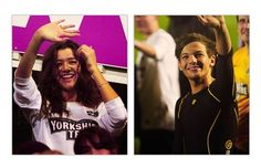 Louis and Eleanor waving to each other at the soccer football match
