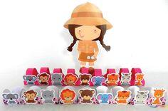 BABY SAFARI GIRL - Displays de mesa 25cm - Forminhas com alça - Forminhas estampadas