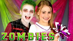 """Disney's """"Zombies"""" is one of my current favorite shows on the Disney Channel! So here is Disney's Zombies Addison cheerleader makeup and Zed Zombie makeup! Zombie Disney, Disney Halloween, Halloween Costumes For Kids, Halloween Makeup, Haunted Halloween, Halloween 2018, Halloween Stuff, Halloween Crafts, Zombie Birthday Parties"""