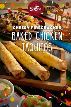 """What makes these irresistible, feel-good taquitos earn their """"firecracker"""" n. What makes these irresistible, feel-good taquitos earn their """"firecracker"""" name? The spicy srir Baked Chicken, Chicken Recipes, South American Dishes, Chicken Taquitos, Baked Taquitos, Spicy Appetizers, Mexican Food Recipes, Ethnic Recipes, Firecracker"""