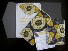Yellow & Gray Fabric Pocketfold Invitations :  wedding diy fabric gray invitations pocketfold sew silver white yellow Invitations 020