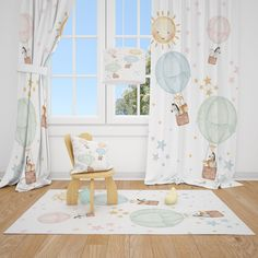 Excited to share this item from my #etsy shop: Watercolor Balloons and Safari Animals Baby Boy Room Curtain Nursery Curtains Window Curtains