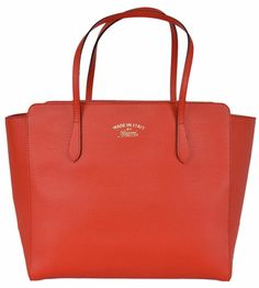 NEW Gucci 354408 SMALL Red Textured Leather Trademark Logo Swing Tote Purse #Gucci #TotesShoppers