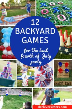 12 Backyard Games for the Best of July Party! - Six Clever Sisters Looking for some great backyard games to bring the fun to the party this fourth of July? These 12 game ideas will have your guest laughing! 4th Of July Games, Fourth Of July Decor, 4th Of July Celebration, 4th Of July Decorations, 4th Of July Party, Bbq Decorations, 4th Of July Ideas, Fourth Of July Crafts For Kids, 4th Of July Outdoor Games