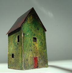 "miniature abandoned house sculpture 3"" tall 