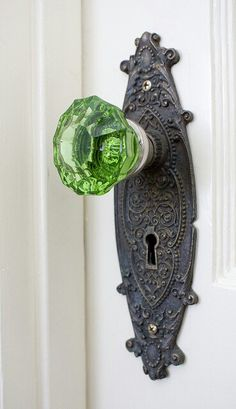 Vintage green door knob at Sage Farm.