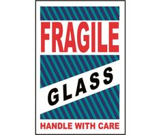 Labels, SHIPPING AND PACKING, FRAGILE GLASS HANDLE WITH CARE, 4 X 6, PS PAPER, 500/ROLL