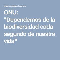 """ONU: """"Dependemos de la biodiversidad cada segundo de nuestra vida"""""""