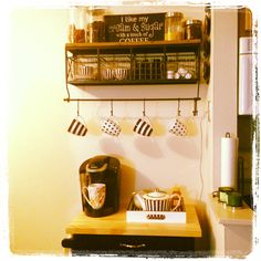 The coffee nook/bar that I built inspired by Pinterest! Finally got to put my Henri Bendel coffee mugs, teapot, tray, and cups to use!!!