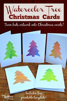 Watercolor tree Christmas cards are a wonderful way to make use of your children's art work. Create new watercolor paintings or use artwork you already have with the free printable template. Make some to share with your friends and family this holiday season!