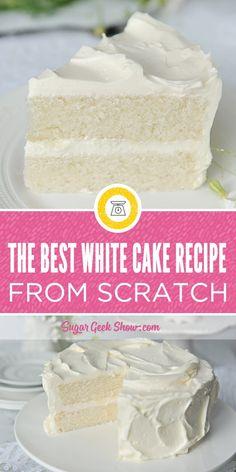 The Best White Cake Recipe Ever, Easy White Cake Recipe, White Cake Recipes, Simple Homemade Cake Recipe, Wedding Cake Recipes, Birthday Cake Recipes, Cake Wedding, Diabetic White Cake Recipe, Paula Deen White Cake Recipe