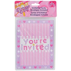 """Every little girl will feel like a princess on her special day with this royal heart-filled party pattern! Dazzling with tiaras, star wands, and jewels, each colorful """"You're Invited"""""""